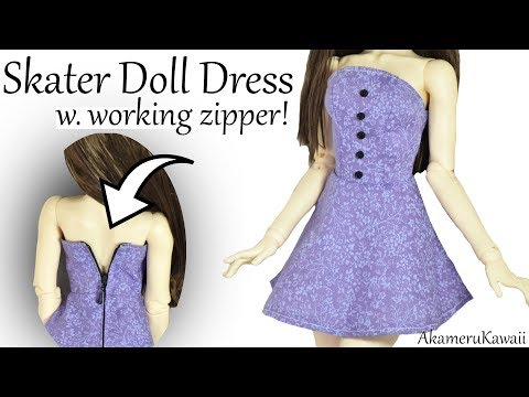 How to: Doll Skater Dress w. working Zipper - BJD / Barbie Clothes Tutorial