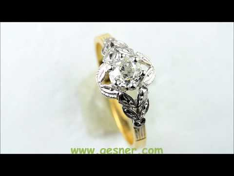 J36902 .33ct Diamond Antique Engagement Ring white yellow gold