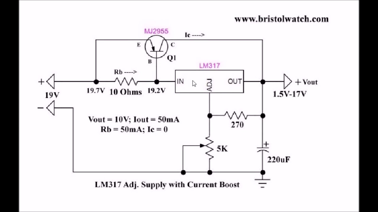 current boost lm317 adj power supply youtube