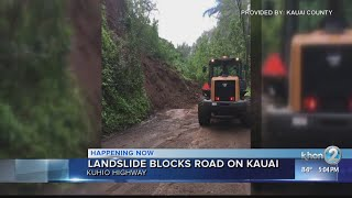 Landslide closes portion of Kuhio Hwy. on Kauai's north shore