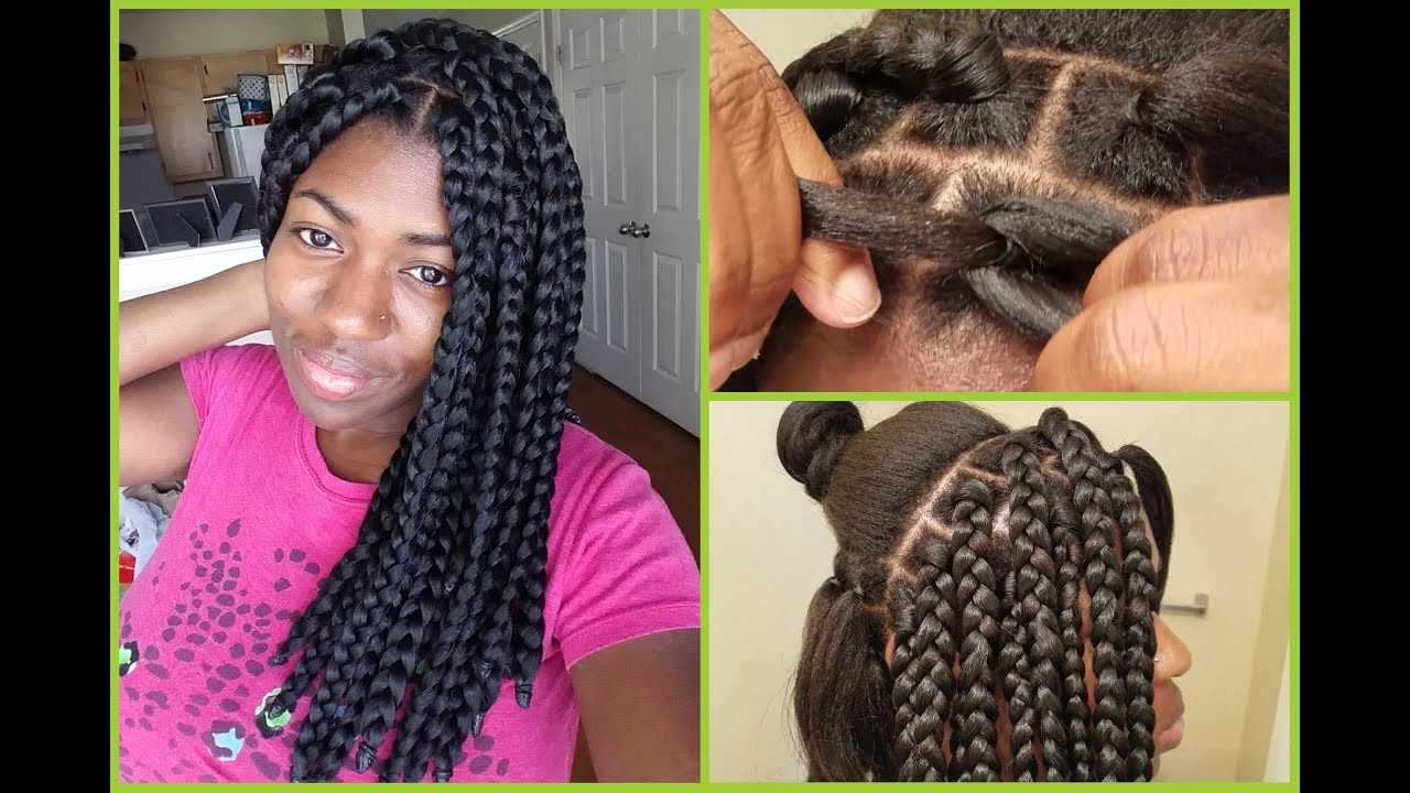Apl Box Braids Rubberband Method Blunt Ends Youtube