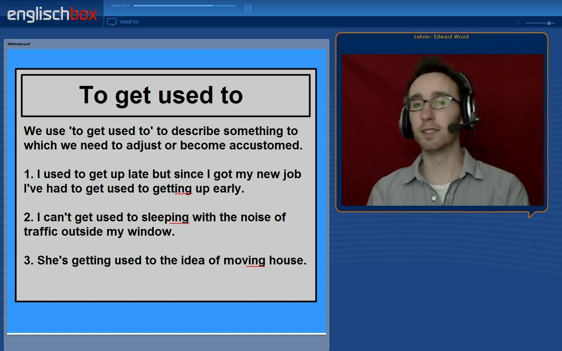Use English online   Used to   To be used to - YouTube