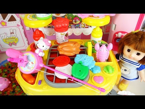 Fishing toys and baby doll kitchen food cooking toys play