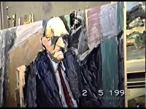 Kostas Loustas is painting Takis Varvitsiotis