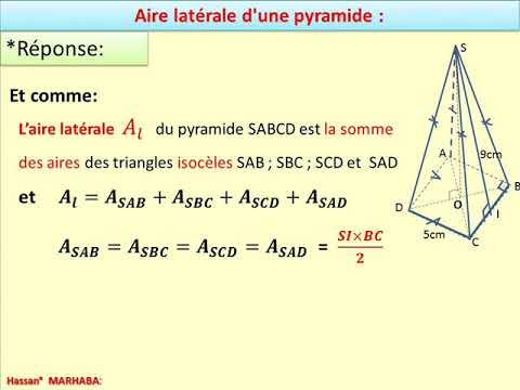 Calcul de l'aire latérale d'une pyramide ..exercice ...