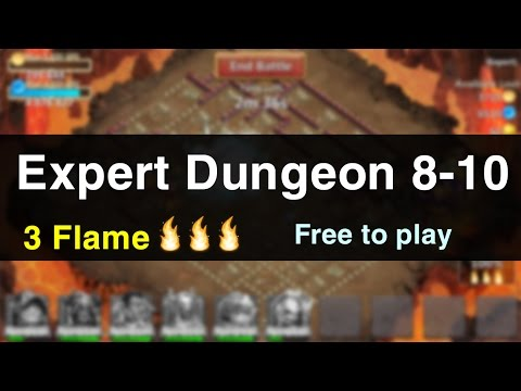 Castle Clash: Expert Dungeon 8-10 With 3 Flame | Easy Way (F2P Only)