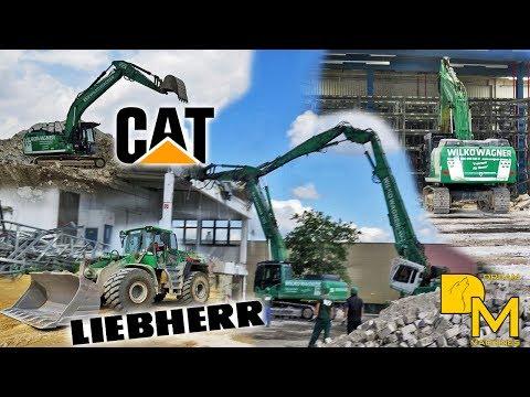 ABBRUCH EINER LAGERHALLE CATERPILLAR 349E LONGFRONT LIEBHERR 954