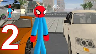 Flying-Spider StickMan Rope Hero Strange Gangster - Gameplay Walkthrough Part 2 (Android,iOS)