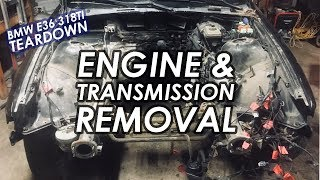 BMW E36 Engine And Transmission Removal! [DIY Race Car Build EP. 3]