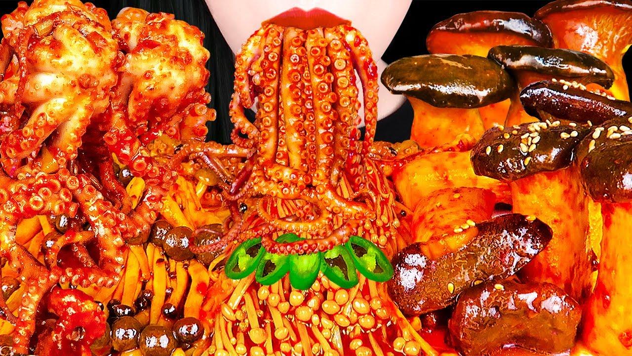 ASMR SPICY OCTOPUS, FIRE ASSORTED MUSHROOMS, ENOKI MUSHROOM 불닭 팽이버섯, 낙지 먹방 EATING SOUNDS MUKBANG