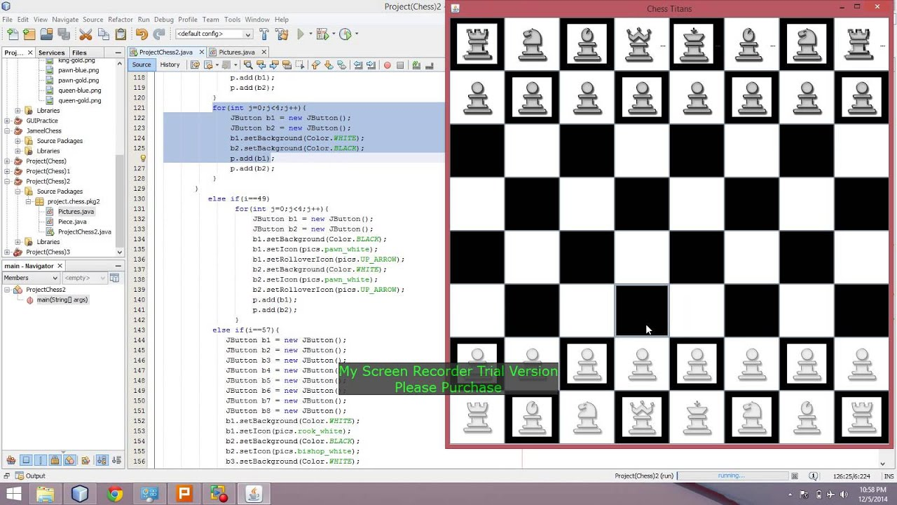 GUI Chess Board design in java netbeans part 2