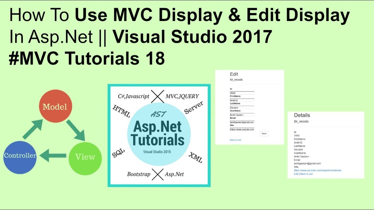 How to use mvc edit display & display details in asp net || visual studio  2017 #MVC tutorials 18