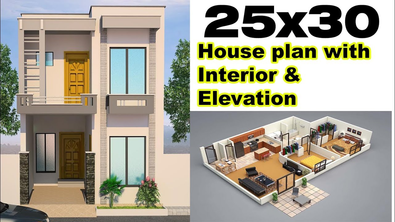 25x30 House Plan With Interior & Elevation (complete
