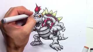 How to draw Dry Bowser - First time using Copic Markers