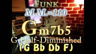 Gm7b5 Half-Diminished (G Bb Db F) One Chord Backing Track - Funk M.M.=110