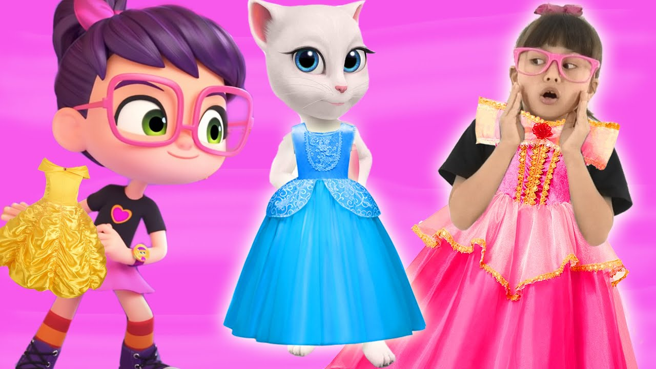 Abby Hatcher Playing Dress Up with Talking Angela | Pretend Play Princess for Kids