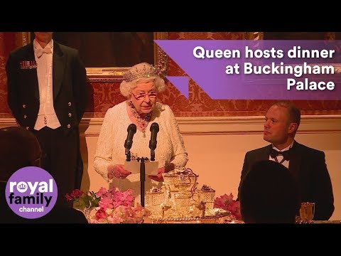 The Queen hosts dinner at Buckingham Palace