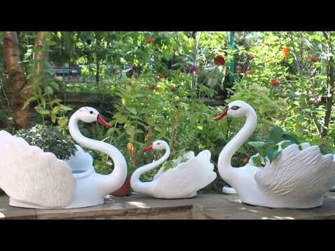 Очаровательные кашпо для цветов лебедь