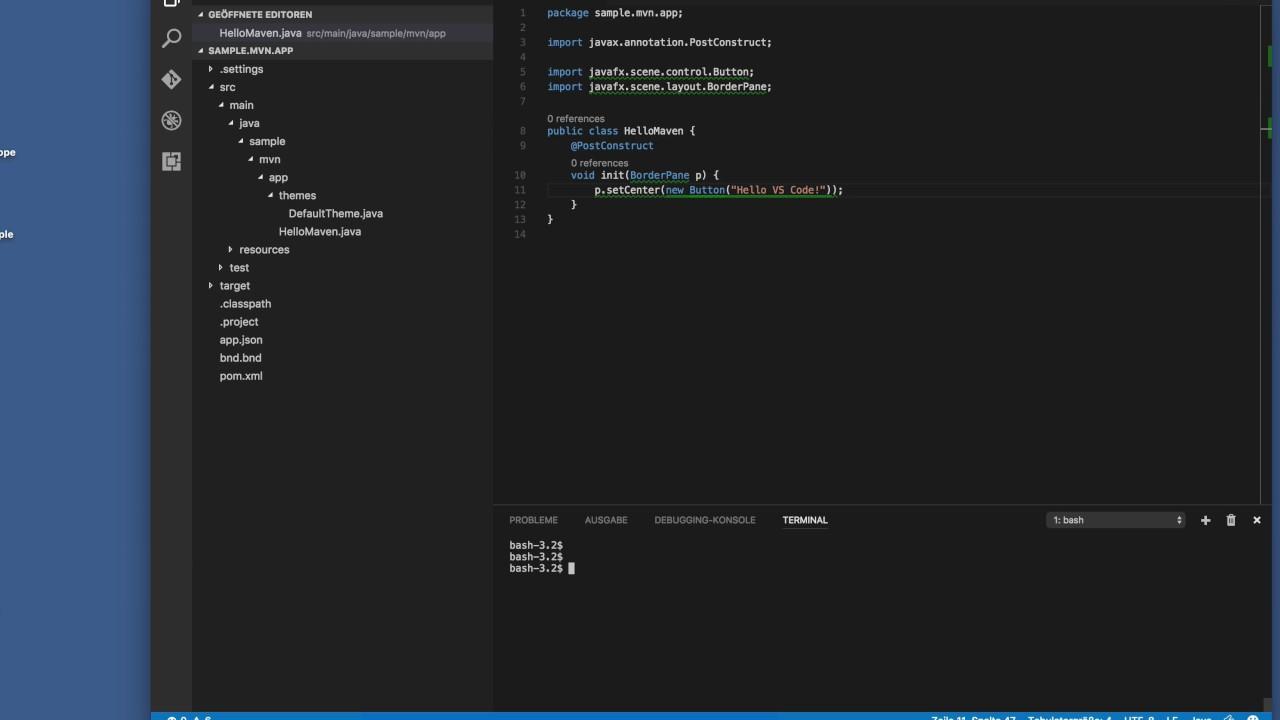 e4 on JavaFX with the bnd-maven-plugin (with VS Code) | Tomsondev Blog