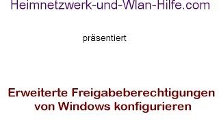 Erweiterte Freigabeberechtigungen von Windows konfigurieren