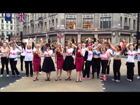 Naked charity in London - women against breast cancer