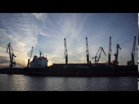 Sunrise over Riga Commercial Port