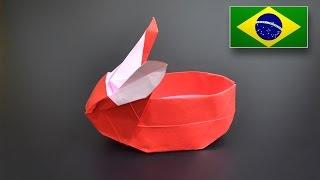 Origami: Cesta de Coelho - Instruções em Português BR
