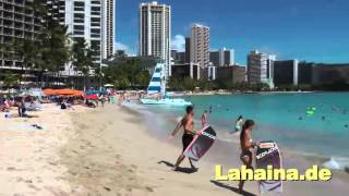Strand in Waikiki Beach auf der Insel Oahu in Hawaii