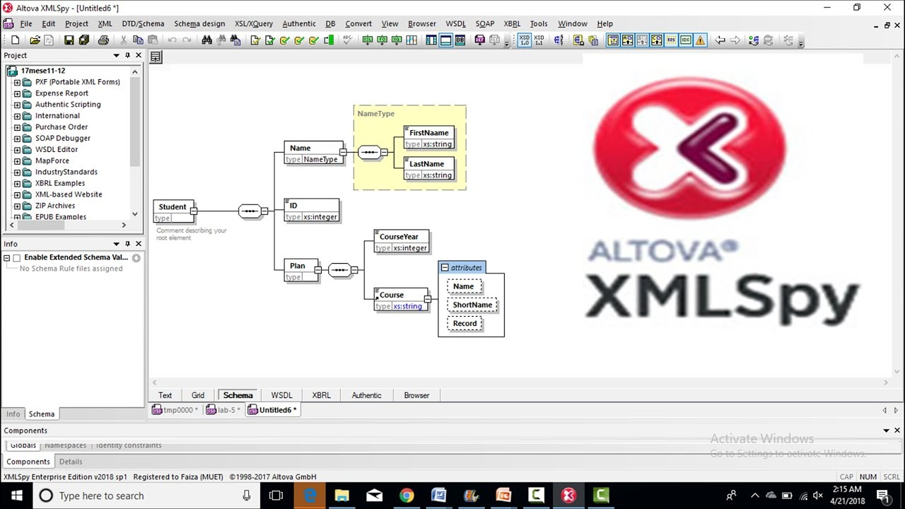 how to use altova xmlspy