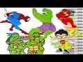 Superhero Coloring Book Pages Compilation Spiderman Flash Hulk TMNT Superman Robin Teen Titans Go