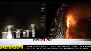 Huge Fire at Address Hotel Burj Khalifa New year 2016 Dubai UAE