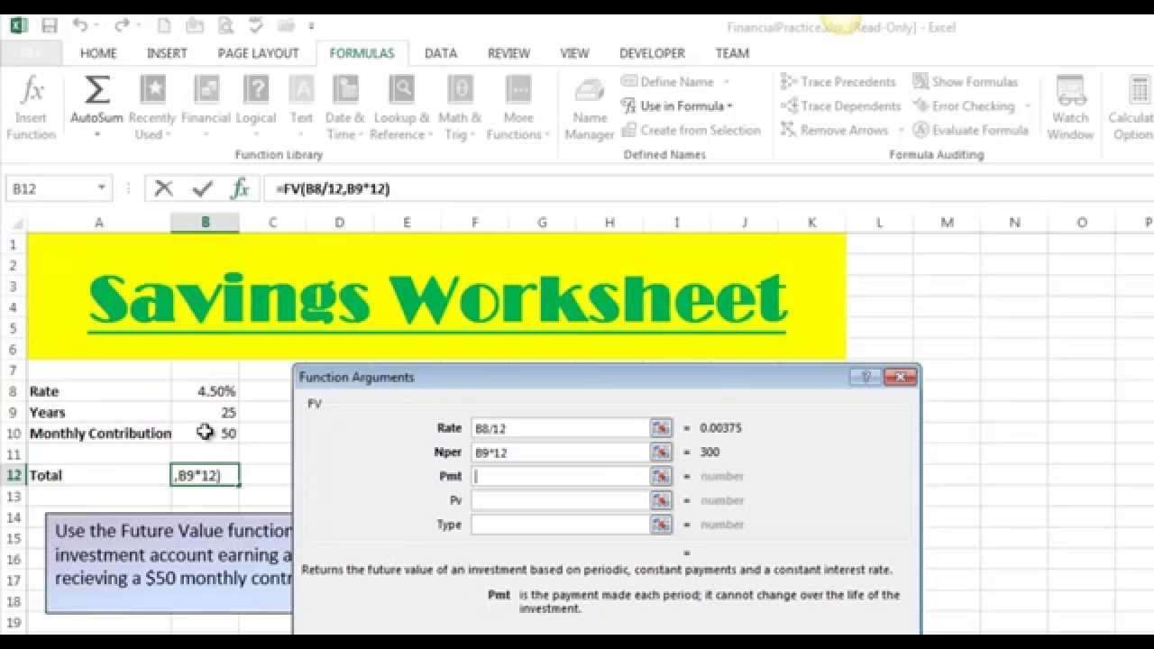 Excel pmt function basics youtube autos post for Future value excel template