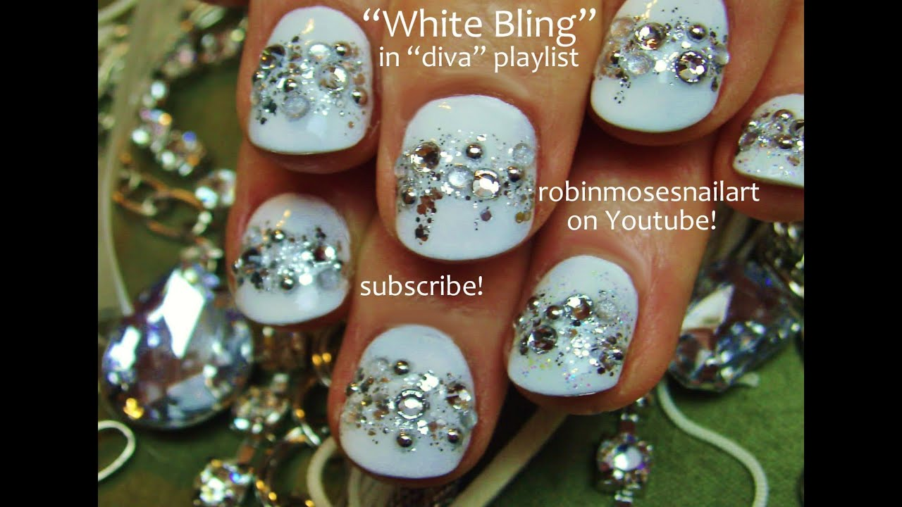 Easy White Nails covered in Bling | Short Nail Art for beginners ...