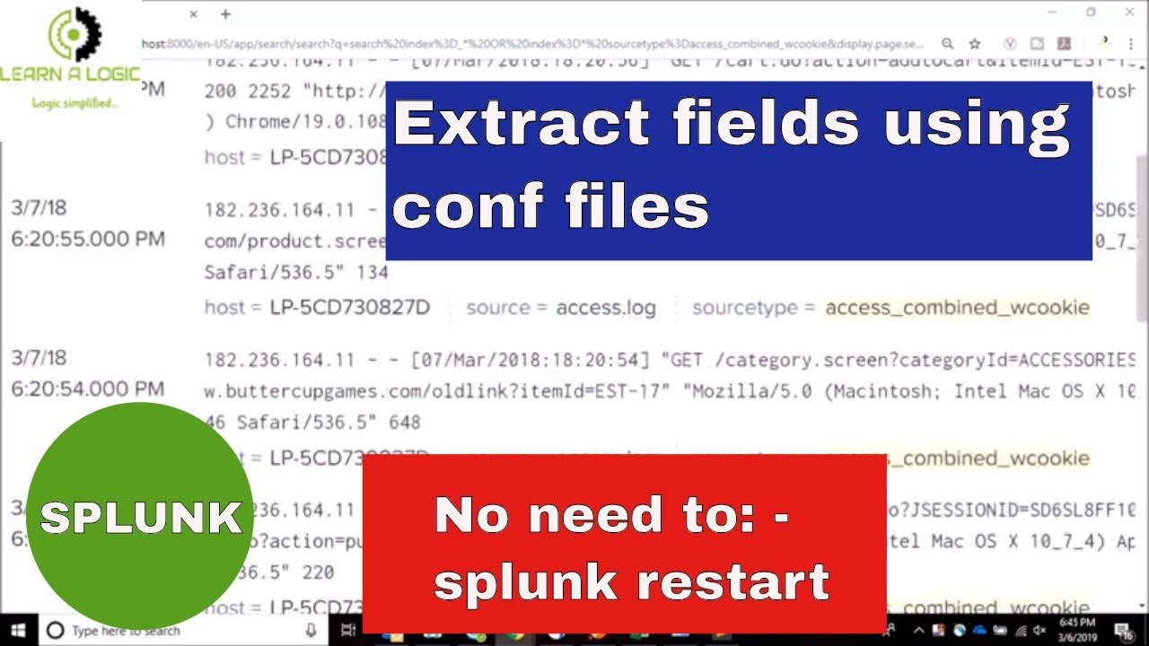 Field extraction in SPLUNK using conf files in search time