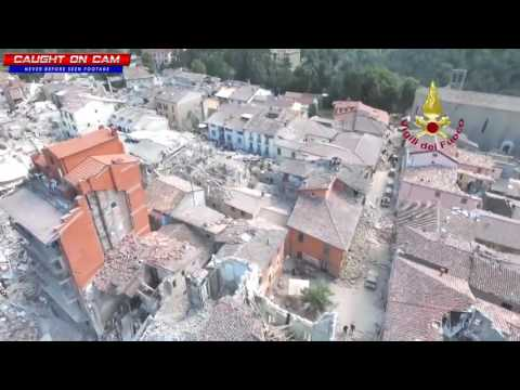 Drone Footage From Italy's Earthquake: The Ancient Town of Amatrice Turned to Rubble