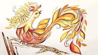 Speed Painting | Autumn Fairy Bird | Watercolor | IOTN