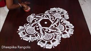 Beautifull peacock & flower muggulu designs with 5x3 dots l simple & easy kolam l new muggulu