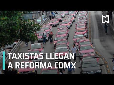 Grupo de Taxistas que salió de Indios Verdes llega a Paseo de la Reforma - Expreso de la Mañana