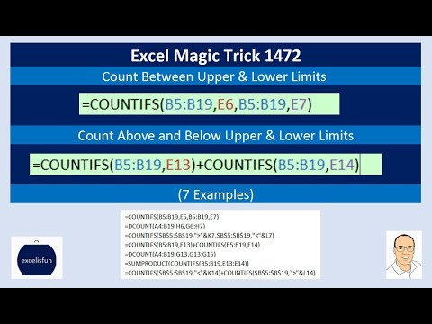 Excel Magic Trick 1472: Count Between (or Above and Below) Upper & Lower Limits (7 Examples)