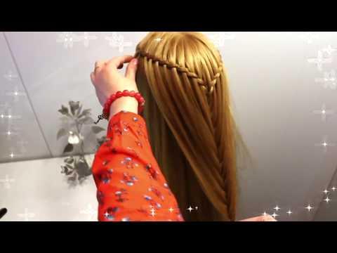 Прическа на длинные волосы водопад для девочек из кос. Детские прически косички