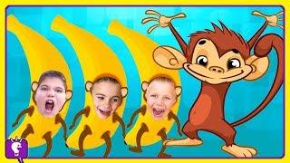 GIANT MONKEY EGG! Surprise Yellow Toys with BANANAS by HobbyKidsTV