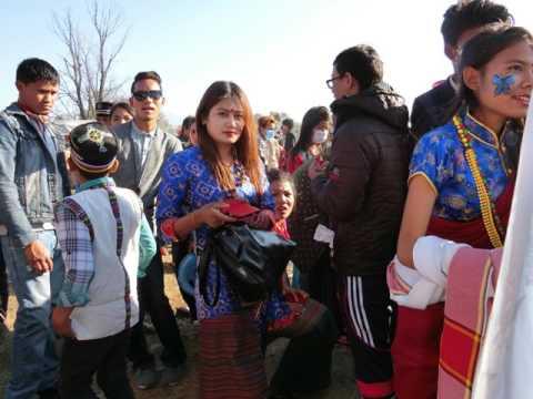 ENLORE: Some Tamang Girls in Kathmandu Tundikhel during Loshar, January, 2017