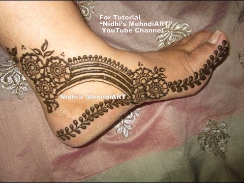 Rainbow Shaped Flowery Side Leg Henna Mehndi Design Tutorial Youtube