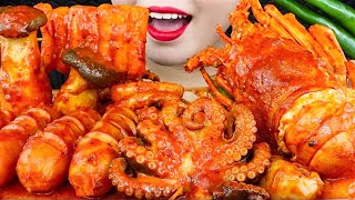 ASMR SEAFOOD BOIL ( LOBSTER, OCTOPUS, SAUSAGE, KING OYSTER...) CHEWY SOUNDS. HẢI SẢN CAY. MAI ASMR