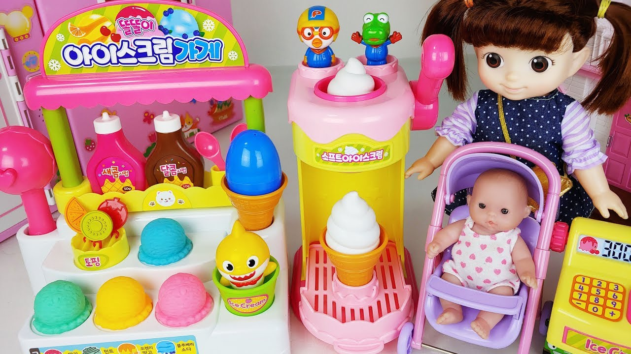 Baby Doll And Colors Ice Cream Shop Toys Baby Shark Play