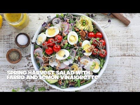 Spring Salad Recipe with Farro and Lemon Thyme Vinaigrette