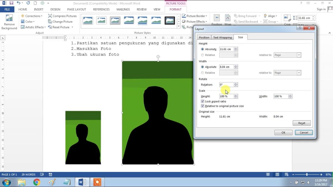 Cara Membuat Ukuran Foto 4x6 3x4 Di Microsoft Word Youtube