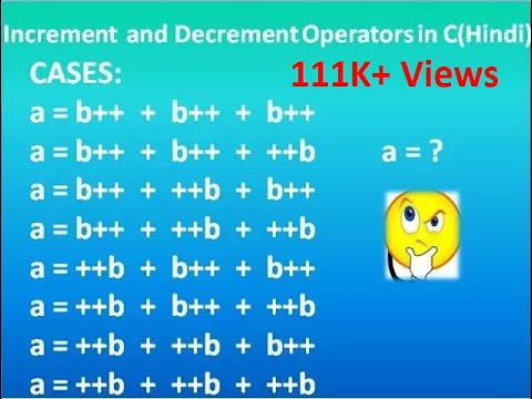Increment and Decrement Operators in C in Hindi - 12 Cases