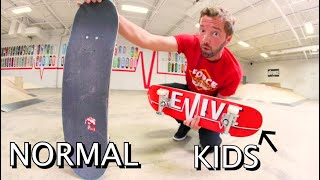 TRYING A KID SIZE SKATEBOARD!