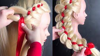 Как ЛЕГКО Начать косу с лентой Прическа в школу на бок из 4 прядей Side French Braid LOZNITSA